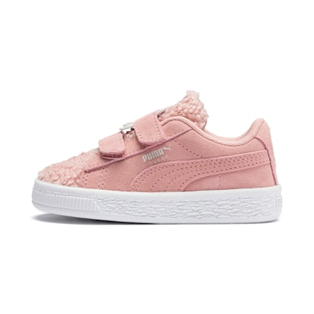 Suede Winter Monster Babies' Trainers, Bridal Rose-Mocha Mousse, small