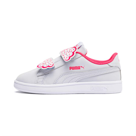 Puma Smash v2 Butterfly Little Kids' Shoes, Heather-Nrgy Rose-Puma White, small