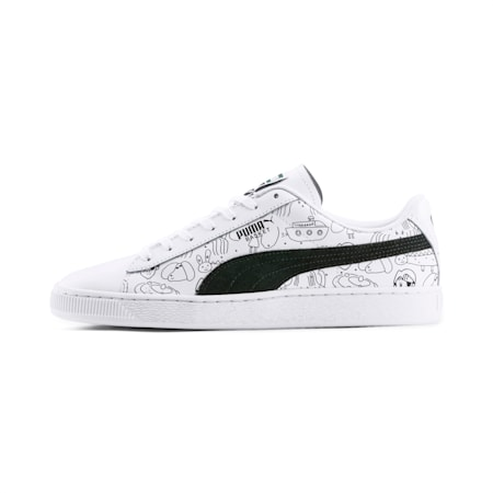 PUMA x TYAKASHA Basket Sneakers, Puma White-Puma Black, small