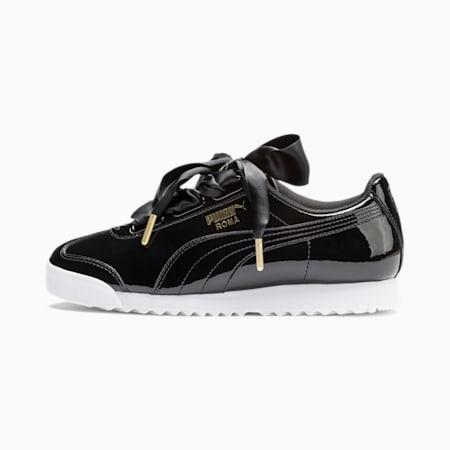 Zapatos deportivos de charol Roma Heart para mujer, Puma Black-Puma Team Gold, pequeño