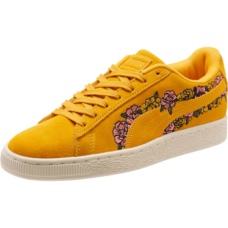 Suede Embroidered Floral Women's Sneakers, Whisper White, small