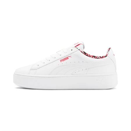 Vikky Stacked Neon Lights Women's Shoes, Puma White-Puma - Coral, small-IND