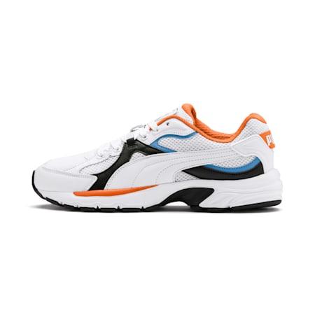 Axis Plus 90s Sneakers, White-Blk-T Lt Blue-J Orange, small