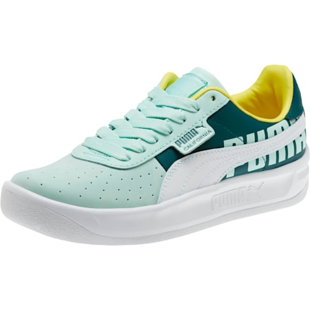 California PUMA Logo Women's Sneakers, Fair Aqua-Puma White, small