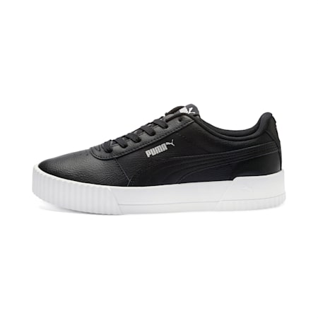 Carina Leather Women's Trainers, Puma Black- White-Silver, small