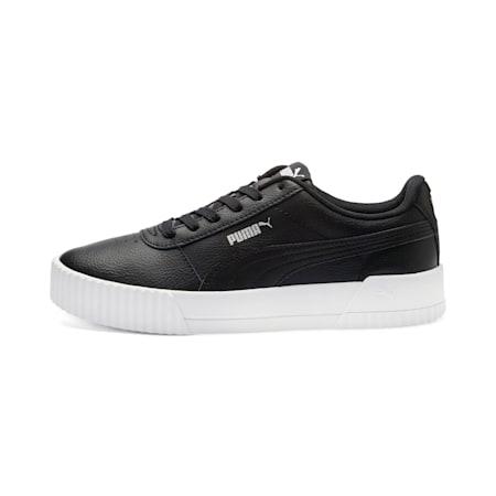 Carina Leather Women's Sneakers, Puma Black- White-Silver, small