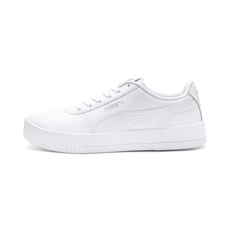 Carina Leather Women's Trainers, Puma White- White-Silver, small