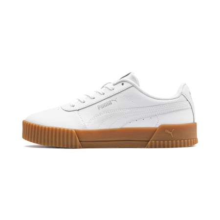 Carina Leather Women's Trainers, Puma White-Puma White-Gum, small