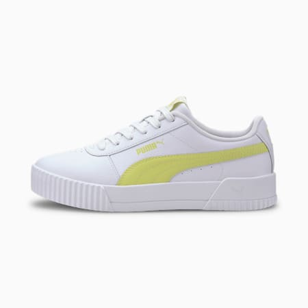 Carina Leather Women's Trainers, Puma White-Sunny Lime, small