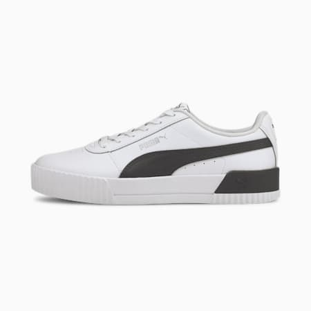 Carina Leather Women's Trainers, Puma White-Puma Black, small