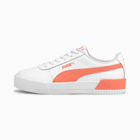 Carina Leather SoftFoam Women's Sneakers, Puma White-Fusion Coral, small-IND