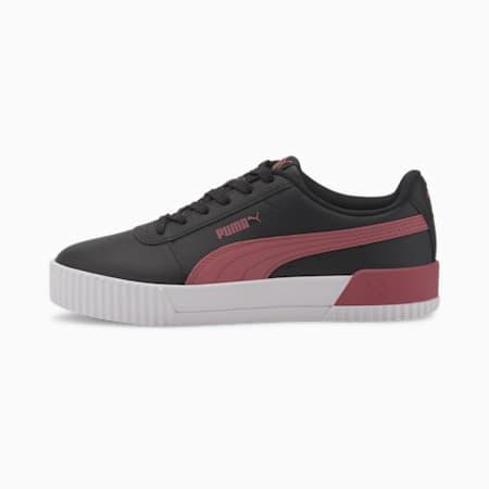 Carina Leather Women's Sneakers, Puma Black-Rose Wine, small