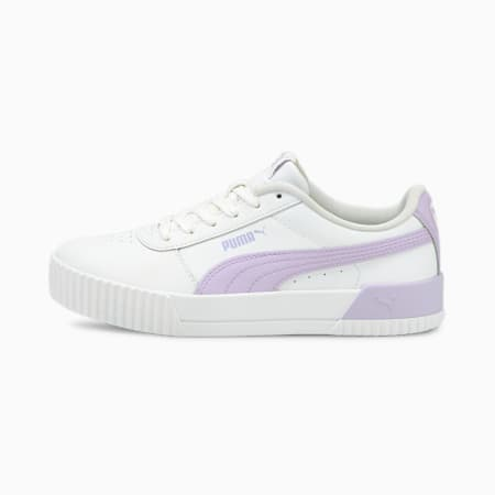 Carina Leather Women's Trainers, Puma White-Light Lavender, small-GBR