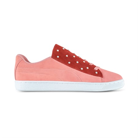 Suede Crush Pearl Studs Women's Trainers, Bridal Rose-Fired Brick, small-SEA
