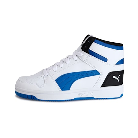 Rebound Lay-Up SL Kid's Shoes, Puma White-Palace Blue-Black, small-IND