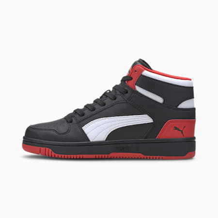 PUMA Rebound LayUp Mid Sneakers JR, Black-High Risk Red-White, small