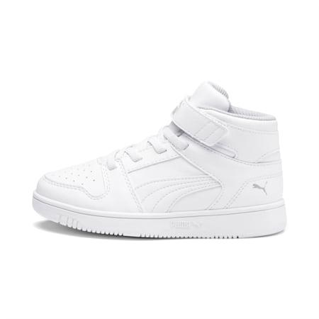 ZapatosPUMA Rebound LayUp para niño pequeño, Puma White-Gray Violet, pequeño