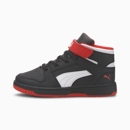 PUMA Rebound LayUp Little Kids' Shoes, Black-High Risk Red-White, small
