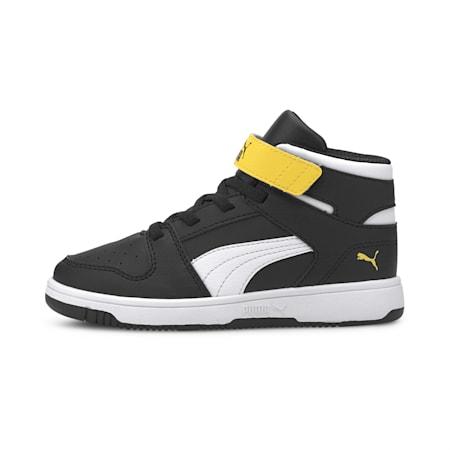 Rebound Lay-Up SL V Kids' Shoes, Puma Black-Puma White-Dandelion, small-IND