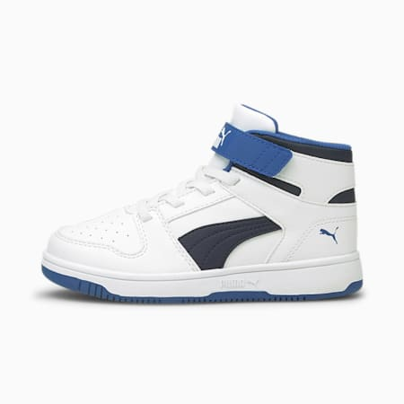 Rebound Lay-Up SL V Kids' Trainers, White-Peacoat-Star Sapphire, small-GBR