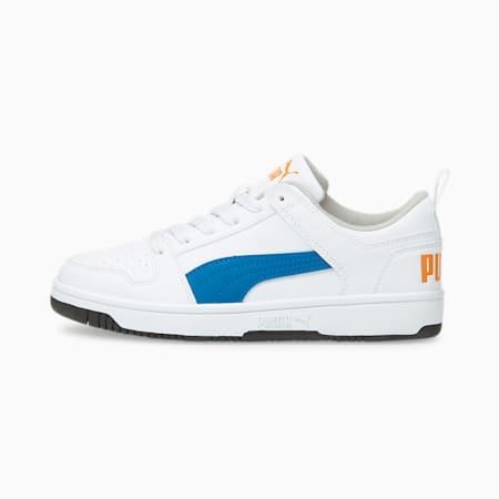 Zapatos deportivos PUMA Rebound LayUp Lo JR, Puma White-Future Blue-Vibrant Orange-Puma Black, pequeño