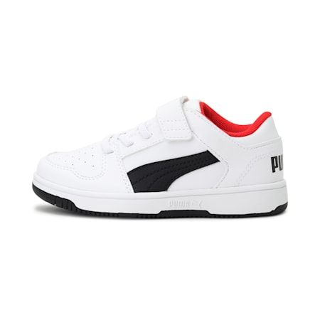 Rebound Lay-Up Lo V Kids' Shoes, Puma White-Puma Black-Red, small-IND
