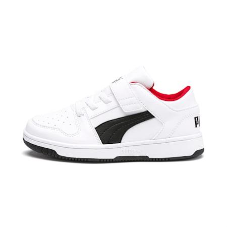 PUMA Rebound LayUp Lo Little Kids' Shoes, Puma White-Puma Black-Red, small