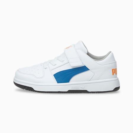 ZapatosPUMA Rebound LayUp Lo para niño pequeño, Puma White-Future Blue-Vibrant Orange-Puma Black, pequeño