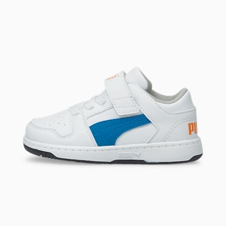 Zapatos PUMA Rebound LayUp Lo para bebés, Puma White-Future Blue-Vibrant Orange-Puma Black, pequeño