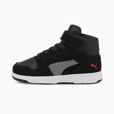 PUMA Rebound LayUp Suede Toddler Shoes, Black-Ultra Gray-H R Red, small