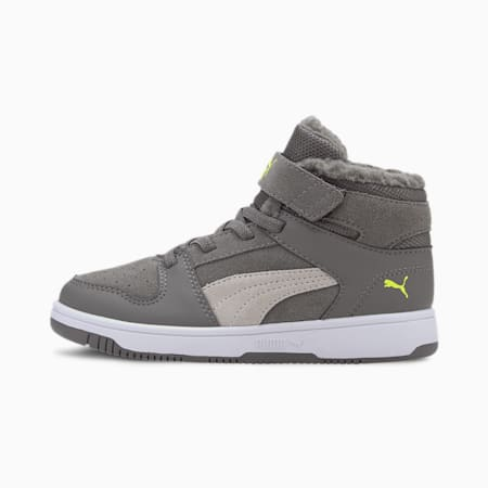 Zapatillas Rebound Lay-Up Fur V para niño, Gray-Gray -Limepunch-White, small