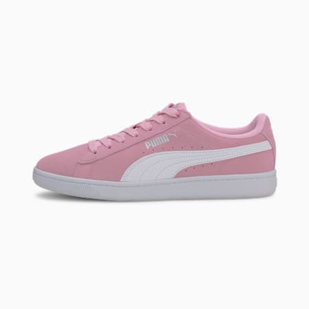 PUMA Vikky v2 Suede Sneakers JR, Pale Pink-Puma White- Silver, small