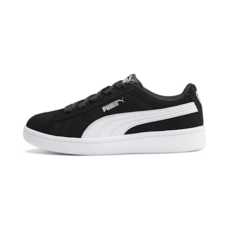 PUMA Vikky v2 Suede Little Kids' Shoes, Puma Black-Puma White-Silver, small