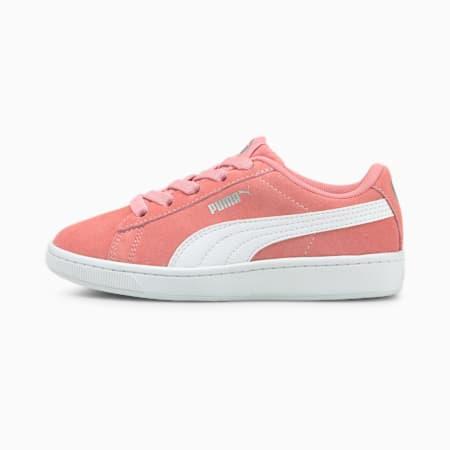 Zapatos PUMA Vikky v2 Suede para niños pequeños, Peony-Puma White-Puma Silver, pequeño