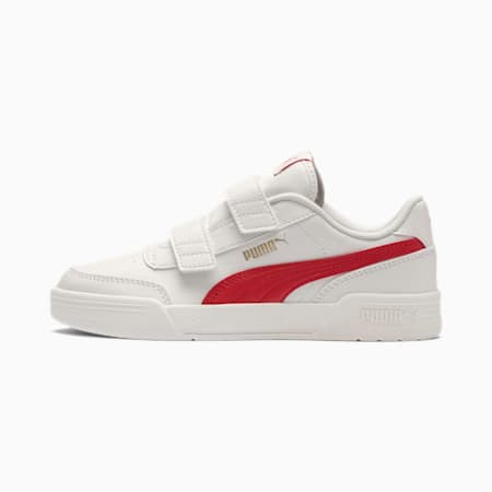 Caracal V Kids' Trainers, W.White-H.Risk Red-P.Gold, small