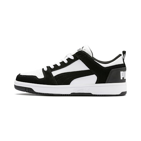 PUMA Rebound LayUp Lo Suede Men's Sneakers, Puma Black-Puma White, small