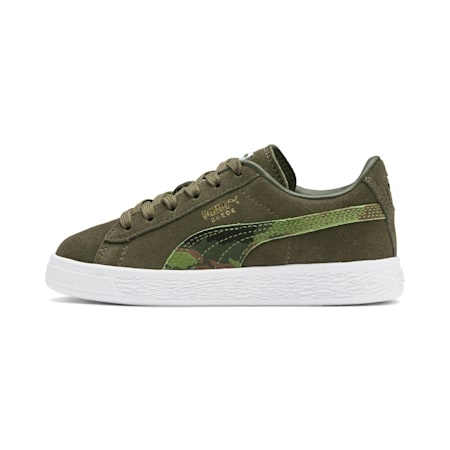 Suede Classic Ambush Little Kids' Shoes, Dachsund-Garden Green-B-W, small