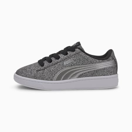 PUMA Vikky v2 Glitz Little Kids' Shoes, Puma Black-Silver-White, small