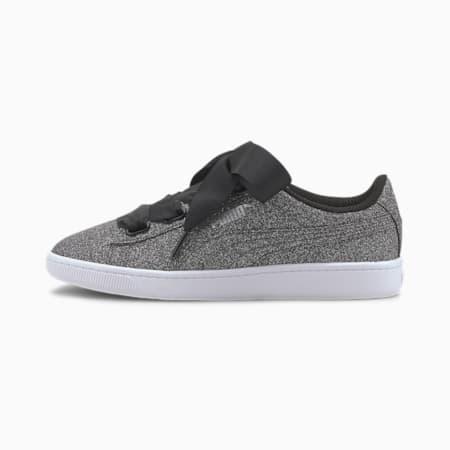 Vikky v2 Ribbon Glitz SoftFoam+ Girls' Sneakers, Puma Black-Puma Silver-White, small-IND