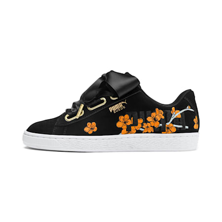 Suede Heart Floral Women's Shoes, Puma Black-Bright Marigold, small-IND