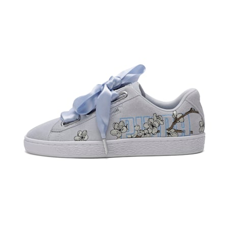Suede Heart Floral Women's Shoes, Heather-Overcast, small-IND