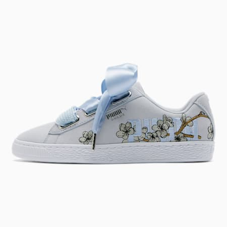 Suede Heart Floral Women's Sneakers, Heather-Overcast, small