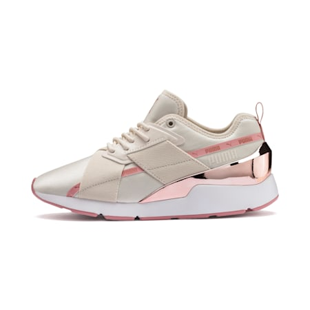 Zapatos deportivos Muse X-2 Metallic para mujer, Pastel Parchment-Rose Gold, pequeño