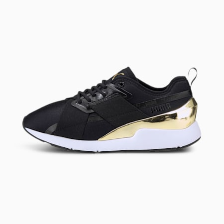 Muse X-2 Metallic Women's Sneakers, Puma Black-Puma Team Gold, small-SEA