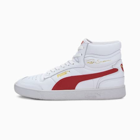Ralph Sampson Mid Sneakers, Puma White-High Risk Red, small