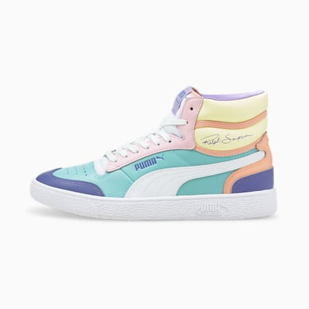 Ralph Sampson Mid Trainers, Angel Blue-PWhite-Pink Lady, small