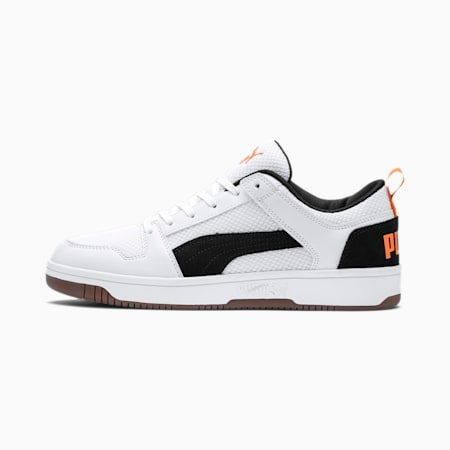 Rebound Lay-Up Lo Mesh Trainers, White-Black-Jaffa Orange-Gum, small