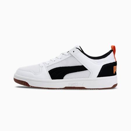 Rebound Lay-Up Lo SoftFoam+ Mesh Shoes, White-Black-Jaffa Orange-Gum, small-IND