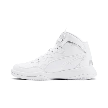 PUMA Rebound Playoff SL Sneakers JR, Puma White-Puma Silver, small