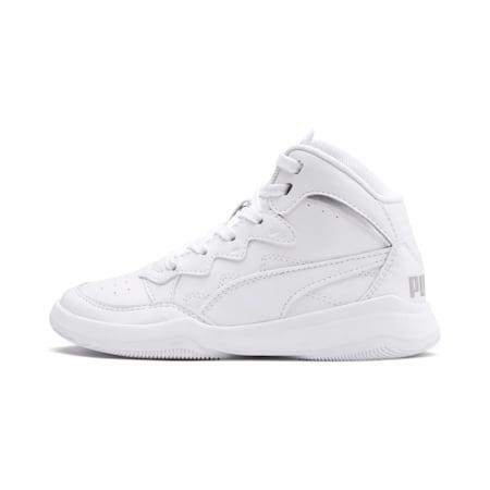 PUMA Rebound Playoff SL Little Kids' Shoes, Puma White-Puma Silver, small